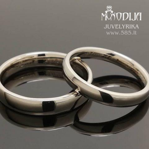 Klasikiniai balto aukso vestuviniai žiedai. Svoris 8g