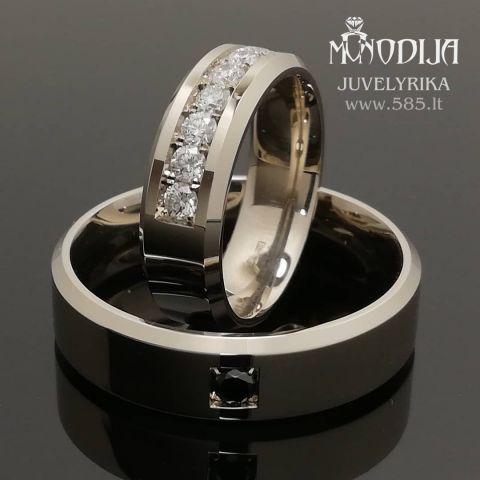 Trapeciniai vestuviniai žiedai puošti briliantais. Svoris 15g, briliantai po 0.05ct