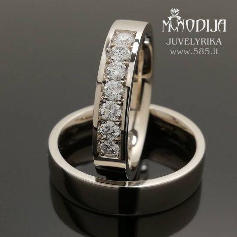 Modernūs balto aukso žiedas puošti briliantais. Svoris 11g, briliantai po 0.07ct