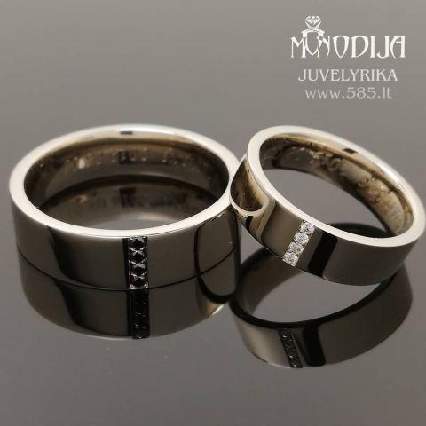 Balto aukso vestuviniai žiedai puošti briliantais. Svoris 14g, briliantai po 0.01ct