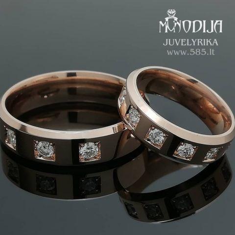 Trapeciniai vestuviniai žiedai puošti briliantais. Svoris 14g, briliantai po 0.05ct, 0.07ct