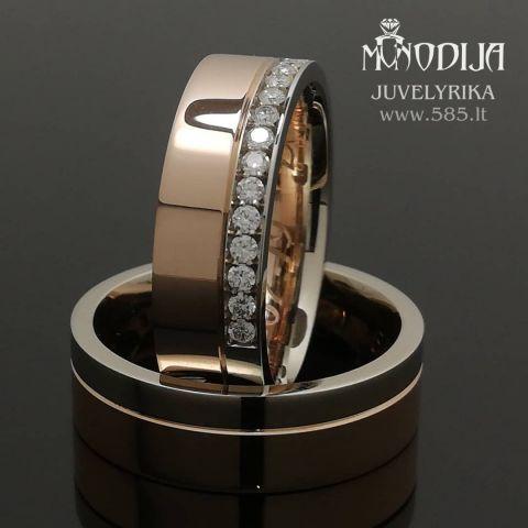 Raudono-balto aukso vestuviniai žiedai puošti briliantais. Svoris 15g, briliantai po 0.015ct