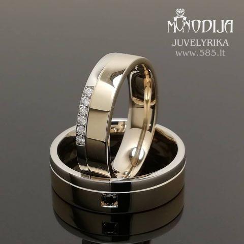 Vestuviniai žiedai puošti briliantais. Svoris 13g, briliantai po 0.01ct, 0.04ct