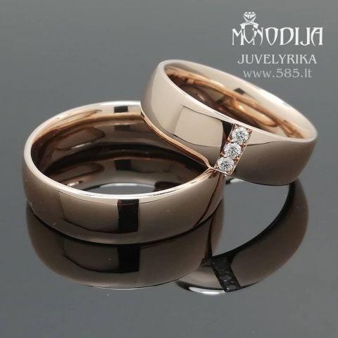 Klasikiniai vestuviniai žiedai puošti briliantais. Svoris 16g, briliantai po 0.02ct