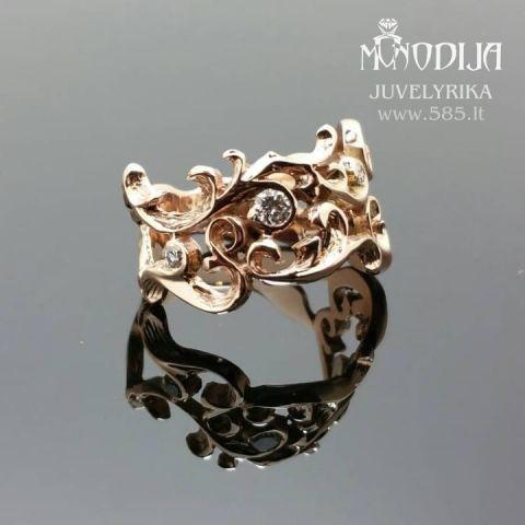 Ornamentinis sužadėtuvių žiedas puoštas briliantais