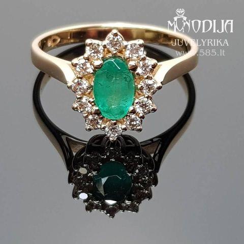 Klasikinis sužadėtuvių žiedas su smaragdu 0.5ct ir briliantais po 0.015ct, svoris 3g