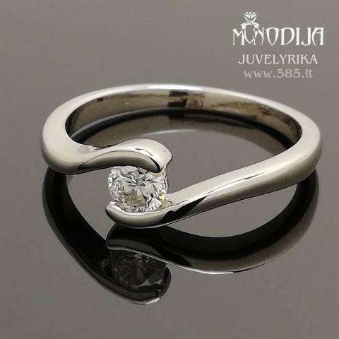 Balto aukso sužadėtuvių žiedas su briliantu 0.24ct.  Kaina nuo 600€