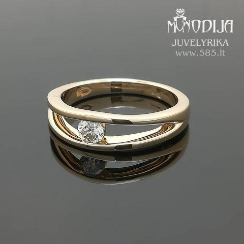 Geltono aukso sužadėtuvių žiedas su briliantu. Svoris 5g, briliantas 0.26ct.  Kaina nuo 600€