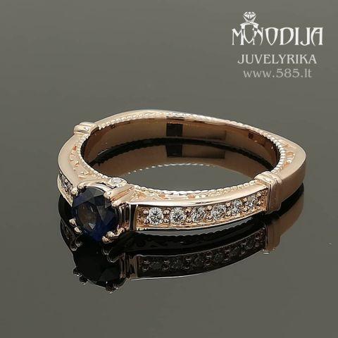 Sužadėtuvių žiedas su safyru puoštas briliantais. Svoris 4g, briliantai po 0.015ct. Kaina nuo 800€