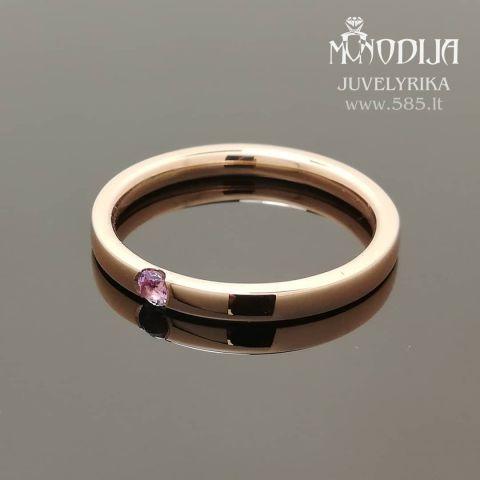 Raudono aukso sužadėtuvių žiedas puoštas ametistu. Svoris 3g. Kaina nuo 200€