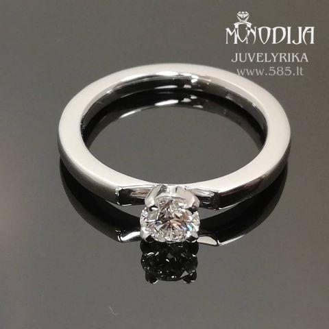 Balto aukso sužadėtuvių žiedas su briliantu. Svoris 3g, briliantas 0.33ct