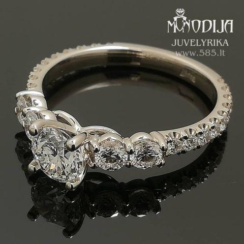 Balto aukso sužadėtuvių žiedas. Svoris 3g, briliantai 0.46ct, 0.07ct,  0.015ct. Kaina nuo 1800€