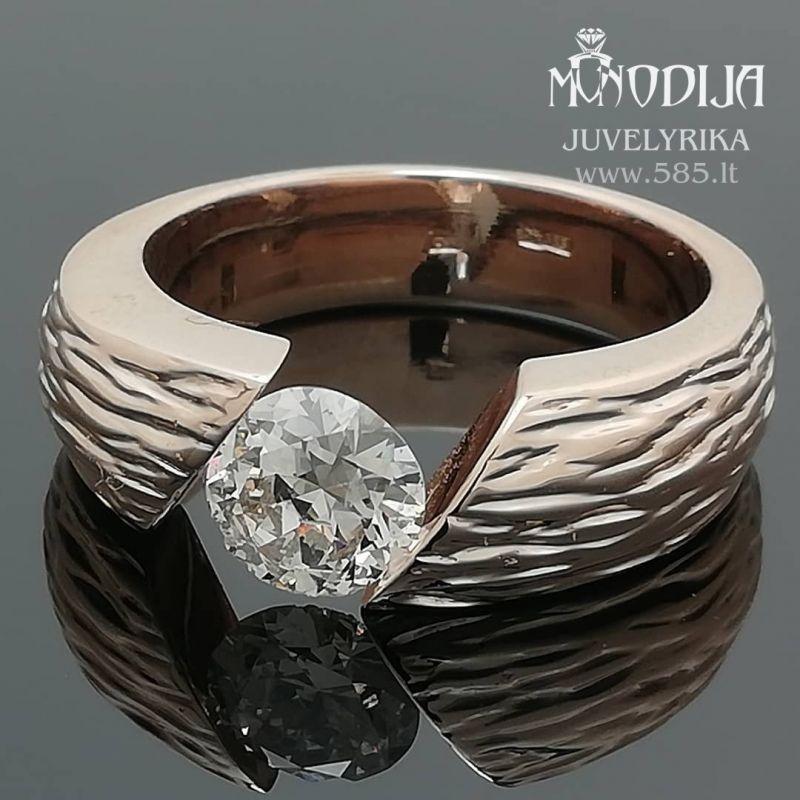Rankų darbo auksinis žiedas su briliantu. Svoris 12g, briliantas 1ct - www.585.lt