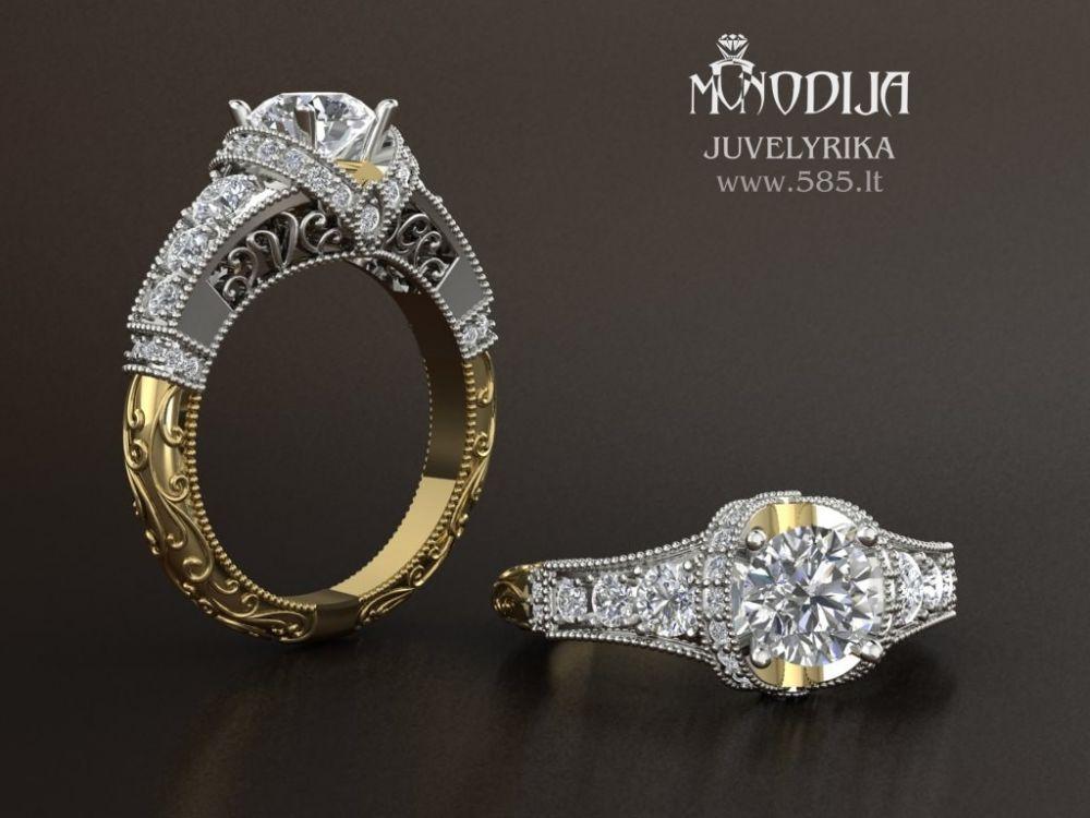 Sužadėtinių žiedas.  3d vizualizacija - www.585.lt