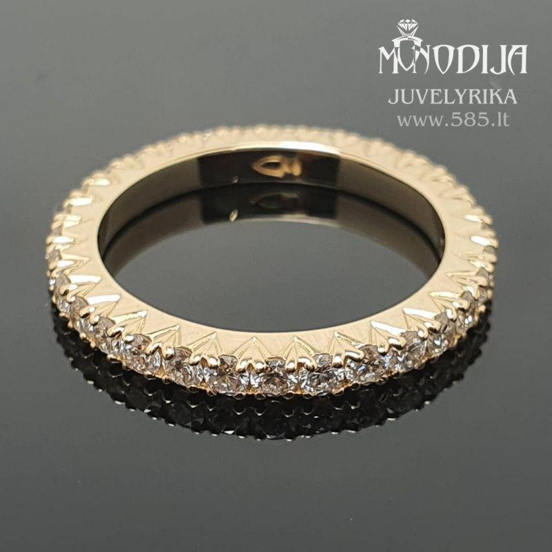 Geltono aukso žiedas puoštas briliantais. Svoris 3g, briliantai 32vnt po 0.03ct. Kaina nuo 1000€ - www.585.lt