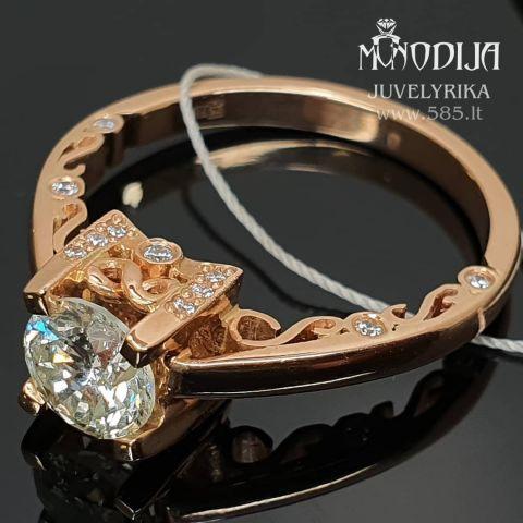 Vintažinis žiedas su 1ct. Sužadėtuvių. Kaina nuo 2000€