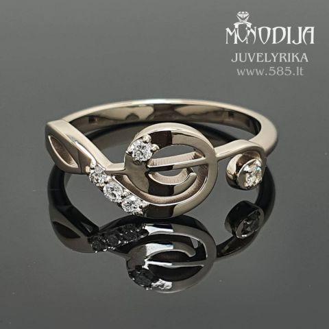 Balto aukso žiedas-smuiko raktas. Svoris 2g, briliantai po 0.015ct. Kaina nuo 400€