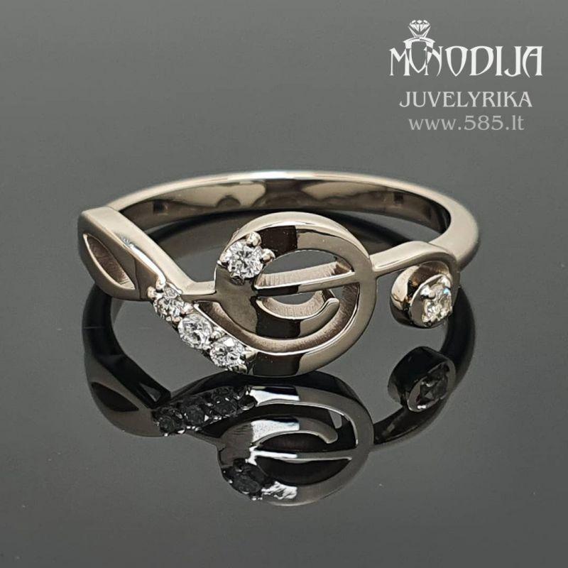 Balto aukso žiedas-smuiko raktas. Svoris 2g, briliantai po 0.015ct. Kaina nuo 400€ - www.585.lt
