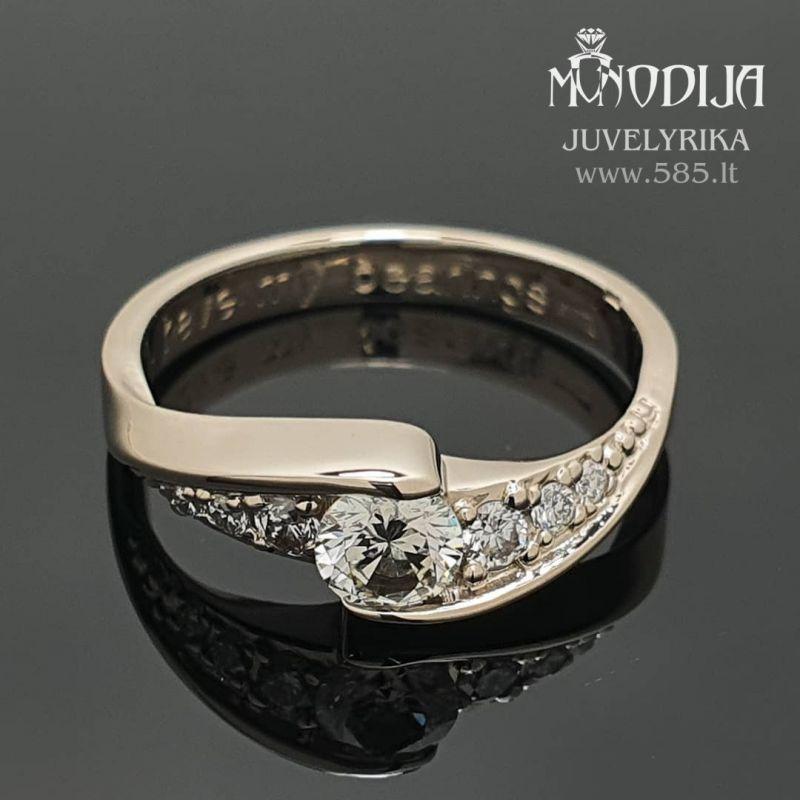 Sužadėtuvių žiedas su briliantais Svoris: 3g Briliantai: 0.29ct-4.2mm, 2*0.03ct-2mm, 2*0.015ct-1.5mm, 2*0.01ct-1.3mm Darbo kaina: 200€ - www.585.lt