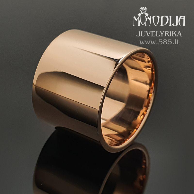 Modernus moteriškas žiedas. Svoris 12g, plotis 15mm. Kaina nuo 600€ - www.585.lt