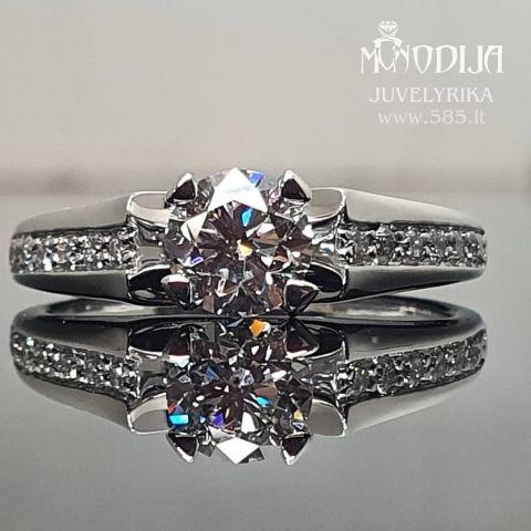 Balto aukso sužadėtuvių žiedas. Briliantai 0.72ct, 12 po 0.015ct. Kaina nuo 2500€