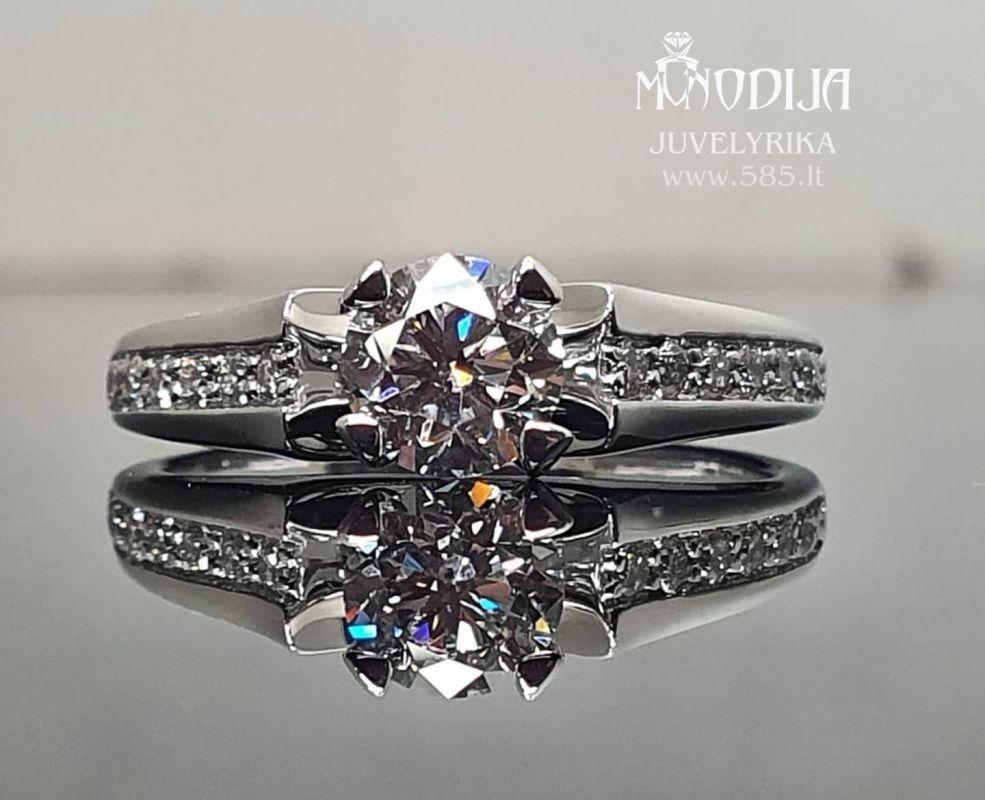 Balto aukso sužadėtuvių žiedas Briliantai: 0.72ct-5.8mm, 12* 0.015ct-1.5mm Darbo kaina: 200€ - www.585.lt