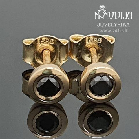 Auskarai su juodais deimantais Svoris: 1.5g Deimantai:  2*0.1ct-3mm Darbo kaina: 160€