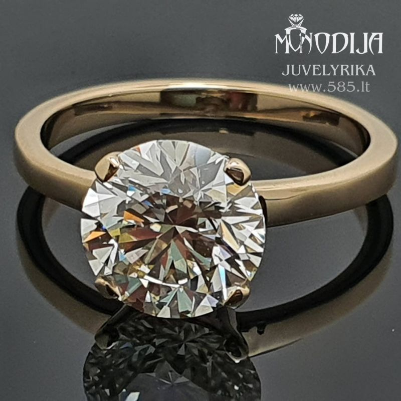 Klasikinis sužadėtuvių žiedas su 2.5ct briliantu Svoris: 3g Briliantas: 2.5ct-8.8mm Darbo kaina: 500€ - www.585.lt