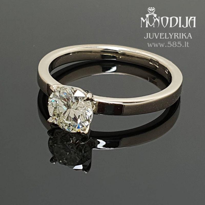 Klasikinis sužadėtuvių žiedas su 1ct briliantu Svoris: 3g Briliantas: 1.05ct-6.6mm Darbo kaina: 300€ - www.585.lt