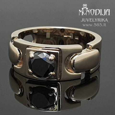 Balto aukso vyriškas žiedas su juodu deimantu. Svoris 9g, deimantas 1.01ct. Kaina nuo 900€