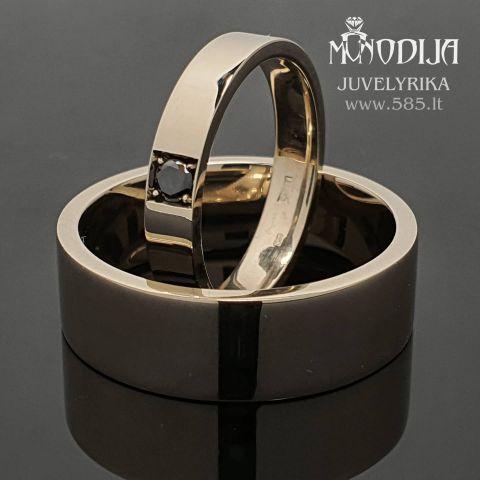 Balto aukso vestuviniai žiedai puošti juodu deimantu. Kaina nuo 700€