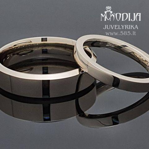 Modernūs vestuviniai žiedai, baltas auksas. Svoris 11g. Kaina nuo 600€