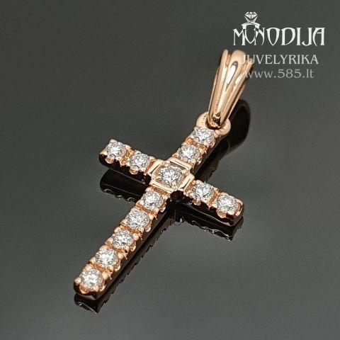 Auksinis kryžiukas Svoris: 2g Briliantai: 0.03ct-2mm, 11*0.02ct-1.7mm  Darbo kaina: 150€