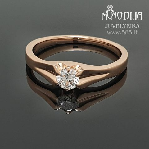 Rožinio aukso žiedas su briliantu. Svoris 3g, briliantas 0.258ct. Kaina nuo 600€