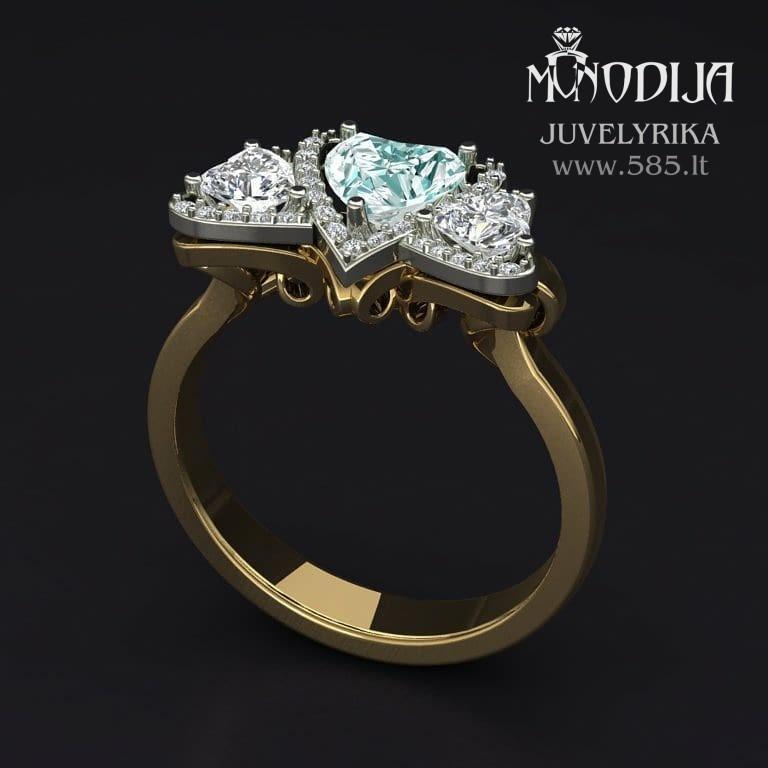 Žiedas su širdelėmis. Vizualizacija - www.585.lt