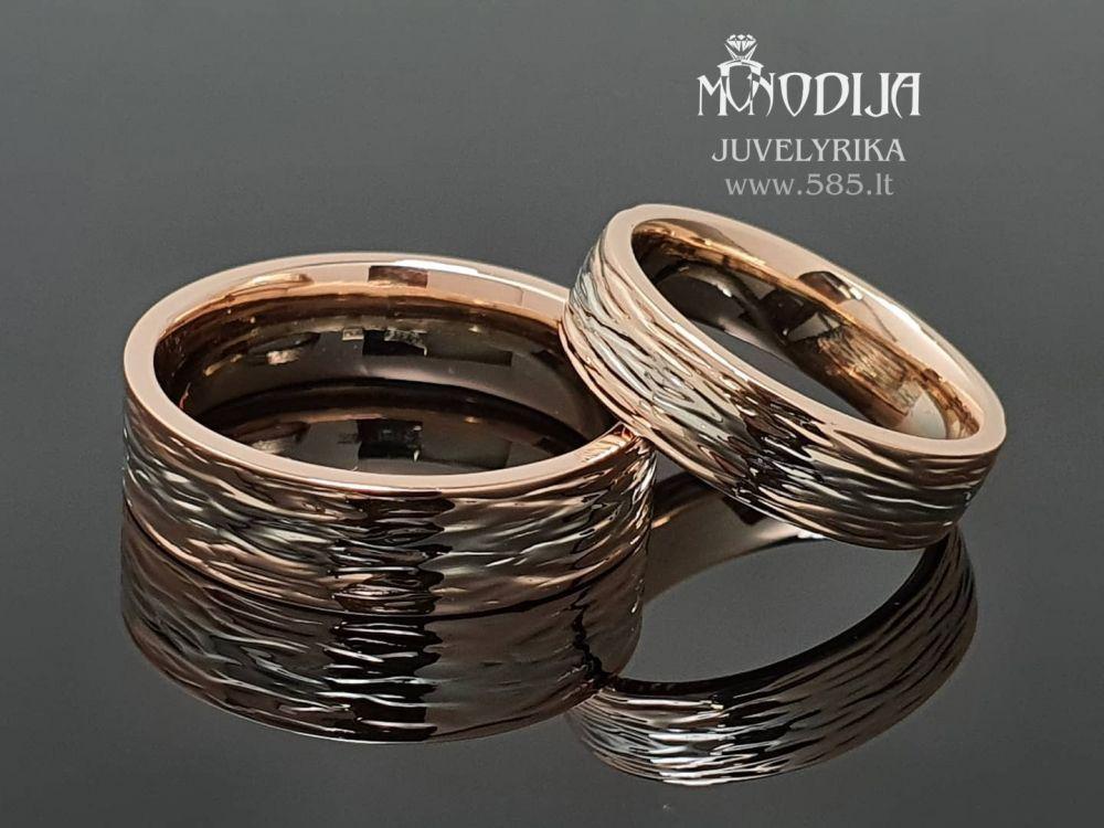 Vestuviniai žiedai su poliruota tekstūra. Svoris 14g - www.585.lt