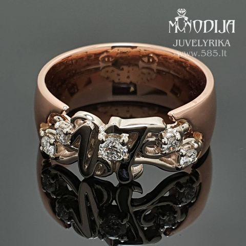 Žiedas su inicialais puoštas briliantais Svoris: 6g Briliantai: 0.06ct-2.5mm, 2*0.02ct-1.7mm, 2*0.01ct-1.3mm Darbo kaina: 300€