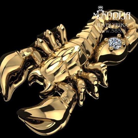 Auksinio skorpiono pakabuko vizualizacija. Svoris 10g