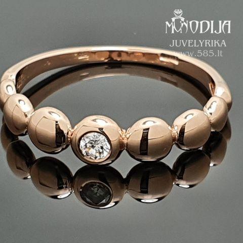 Moteriškas žiedas puoštas briliantu.  Svoris: 3g Briliantas: 0.08ct  Darbo kaina: 150€