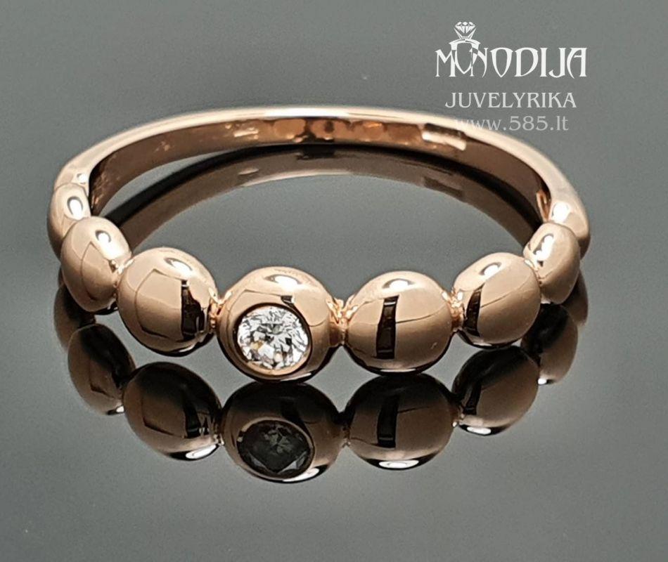 Moteriškas žiedas puoštas briliantu.  Svoris: 3g Briliantas: 0.08ct  Darbo kaina: 150€ - www.585.lt